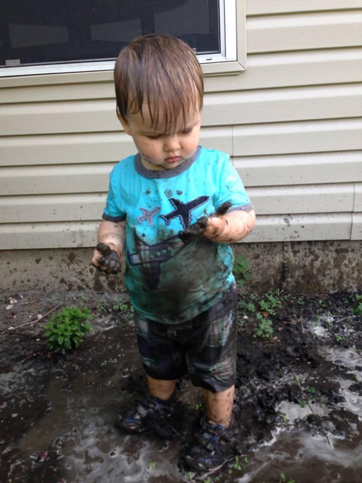 Noah in Mud